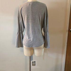 Mustard Seed Sweaters - Mustard seed bell sleeve tie waist knit top